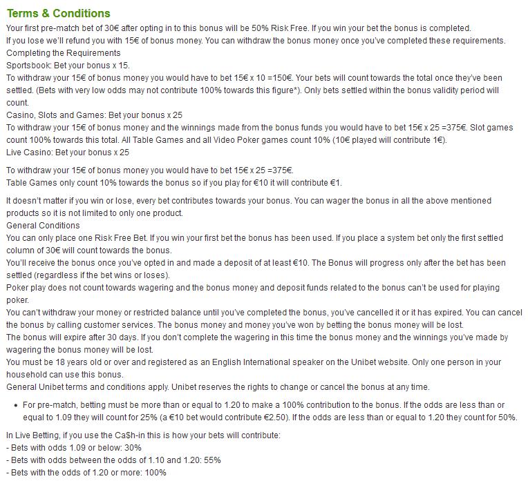 betting bonus list